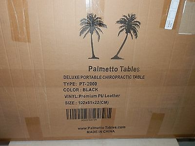 Palmetto Tables PT 2000 Portable Chiropractic Therapy Table Black Leather New