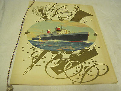 1959 United States Lines S.S. America Gala Dinner Menu Cruise Ship