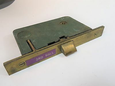 Vintage Antique Victorian GREEN Mortise Lock & Brass Face Plate Hardware Parts