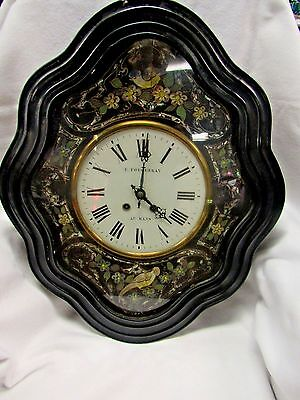 Antique French Wall Clock Ebony  Lacquer With Mother-Of-Pearl Inlay & Painted