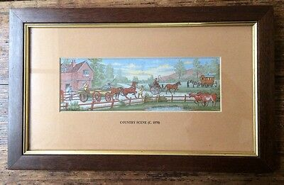 Cashs Miniature Woven Picture Of A Country Scene Circa 1870. Gypsy