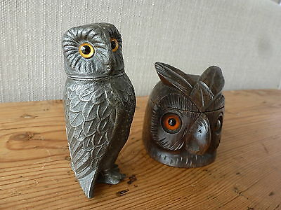 Antique Owl Collectables Pewter Pepper and Carved Wooden Inkwell. Glass Eyes