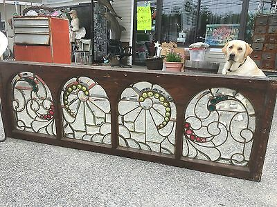 Antique Victorian Beveled Leaded Glass Window w Jewels --- 1880s transom stained
