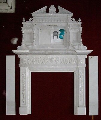 Amazing Hand Carved Marble Fireplace Surround --- Mantel mantle carrera aNtIquE