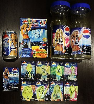 Britney Spears PEPSI Thai Promo Collectible Set (Tumbler, Card, Can, Flyer) Lot