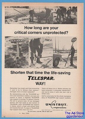 1969 Unistrut Telespar Stop Sign Post Workers Corners Protected Photo Print Ad