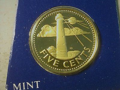 Barbados 5 cents 1975 from proof set Lighthouse