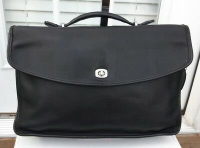 Coach Black Leather Briefcase Laptop Bag School Bag No Strap