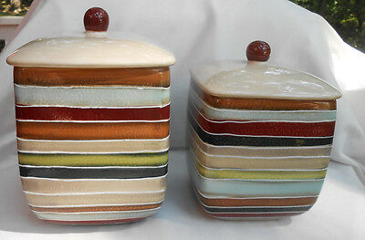 Tabletops Lifestyles Jentry Canisters 2 Stripes Jar Square Large Medium