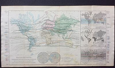 Map of THE WORLD Exhibiting Chief Physical Features c1854, S.Hall, Longman & Co