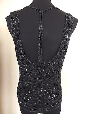 Women's SCALA Silk Beaded Draped Back Black Sleeveless Cocktail Formal Top - XL