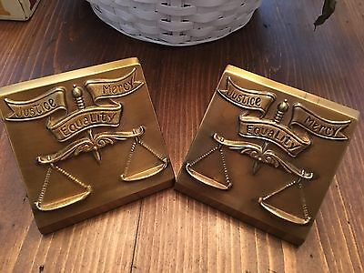 Scales of Justice- Justice, Mercy, Equality - Heavy Brass Lawyer Book Ends - VTG