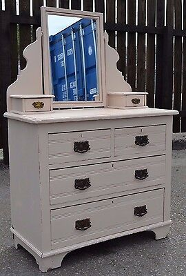Lovely Antique Edwardian Pine Dressing Table Chest Painted Pink Shabby Chic