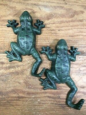 2 FROG Cast Iron Coat Tail As Hooks Hat Wall Rustic Antique Vintage Style