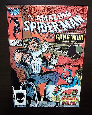 AmaZiNG SpiDeR-MaN #285 from 1987 NM+ PuNiSHeR MIKE ZECK signed Cover
