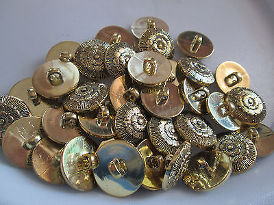 Lot Of 30 Fancy Antique Gold Color 13/16 Inch Shank Buttons, New