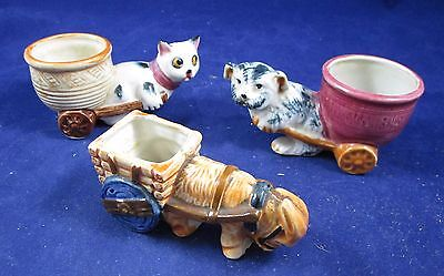 Lot of 3 Vintage Porcelain Miniature Animal Carts Occupied Japan - Age Unknown