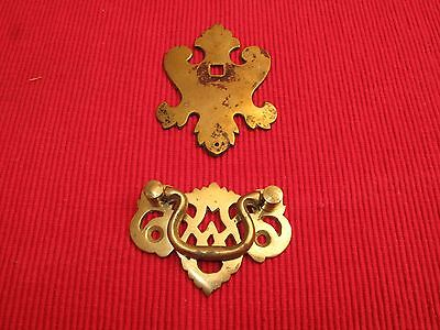Antique Brass Chippendale Drawer Pull And Decorative Plate