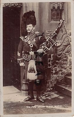 Soldier Pipe Major Black Watch Royal Highlanders with bagpipes wears QSA