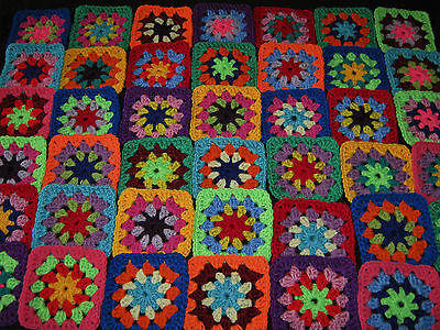 42 Beautiful Crochet Daisy Centre Granny Squares, Crocheted Motifs. (B)