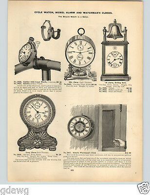 1896 PAPER AD RARE Schultz Night Watchman's Clock Bicycle Pocket Watch Holder