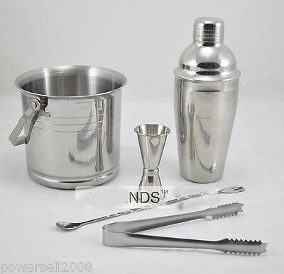 New Silver Stainless Steel Five-Piece Suite Shaker Bartender Tools Kit