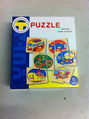 Wooden Puzzle Set 6 Puzzles In Box~~For 3 Years +