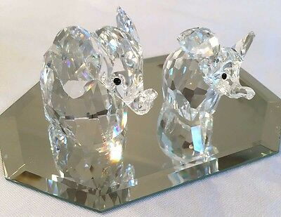 Swarovski Crystal Silver Elephant and Baby With Original Boxes Made in Austria