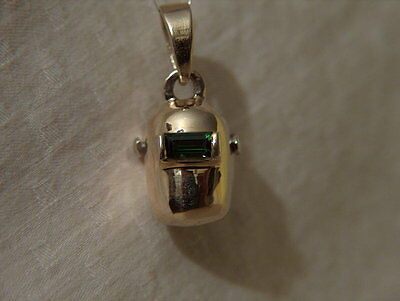 14Kt Yellow & White  Gold Welding Helmet Hood Pendant