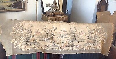 Vintage French Tapestry Castle Scenery 53 X18