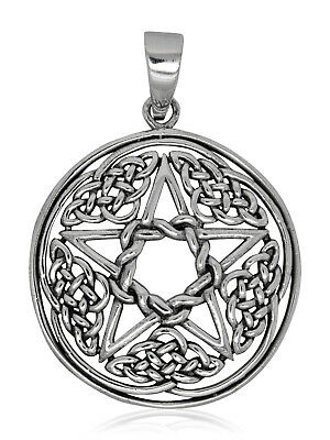 925 solid Sterling silver Wicca Neo Pagan Pentagram with Celtic knots pendant