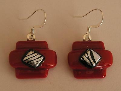 """HANDMADE DICHROIC + ART GLASS FREEFORM EARRINGS:"""" RED with Silver + Black !"""""""