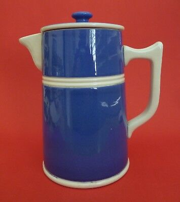 Fowler Ware Pottery ~ 2 PINT Blue & White Lidded Coffee Pot ~ VGC.