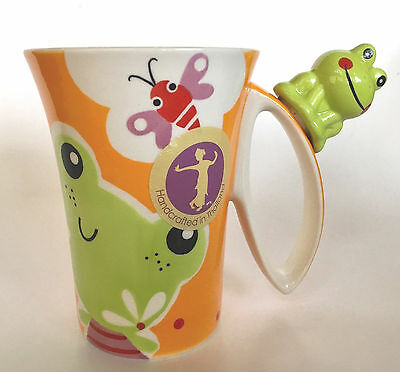 New Indra Frog & Butterfly Handpainted Mug, Fine Stoneware Coffee, Tea Cup, NWT