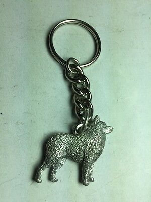 Dog Keychain , Schipperke Dog Made Of Fine Pewter