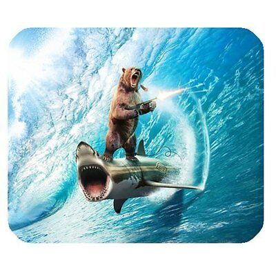 """7.75"""" x 9.75"""" Bear Riding Shark Funny LOL Mouse Pad Gaming Office Work US Seller"""
