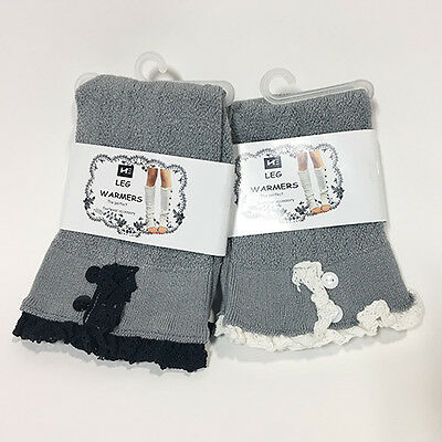 2 Pairs Women's Gray Knit Leg Warmers with Black/White Lace