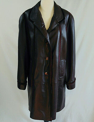 VTG 80's 90's Long Leather Coat Buttery Soft Women's Size M Shane Leather Canada