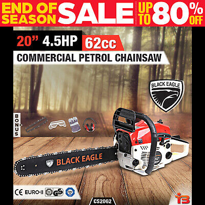 "NEW Black Eagle 62cc Petrol Commercial Chainsaw 20"" Bar E-Start Pruning Chain Sa"