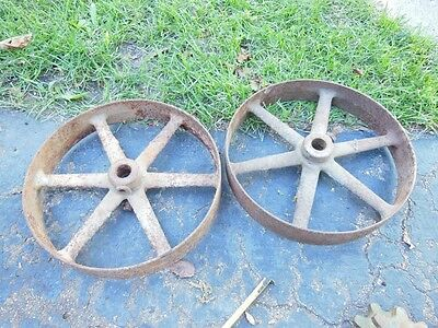 """Pair 14"""" cast iron pulleys 2.75"""" face steam gas engine hit miss steam punk See"""