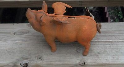 Rustic Flying Pig Bank Large Heavy Cast Iron Home Den Shop Man Cave Decor 12.5""