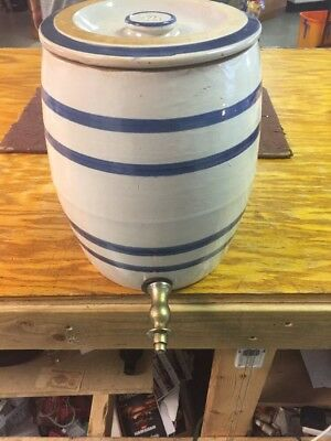 2 Gallon Robinson Ransbottom Crown Stoneware Water Cooler Spigot Lid Blue Stripe