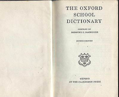 The Oxford School  Dictionary Second Edition  1960  Hb