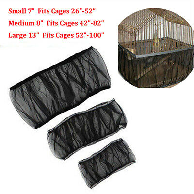 3 Sizes Black Seed Catcher Guard Nylon Mesh Bird Cage Tidy Cover Skirt Cage IW