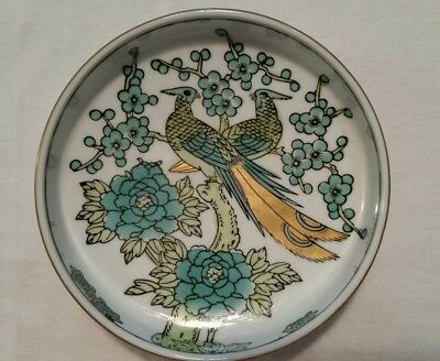 GOLD IMARI Hand Painted Japanese Porcelain Dish Emerald Green Peacocks Flowers