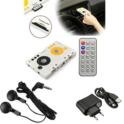 Car Telecontrol Tape Cassette SD MMC MP3 Player Stereo Audio Adapter Earphone