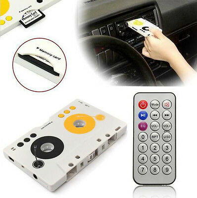 MP3 Tape Player Stereo Audio Adapter Kit +Remote Control Car Charger Earphone