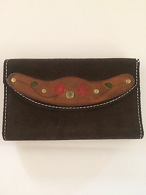 Vintage Hand Tooled Leather Wallet Suede Floral Hippie Boho