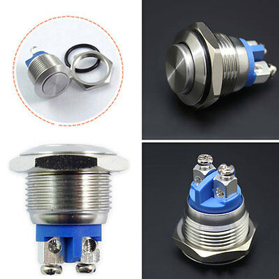 Water Proof Starter Switch Boat Horn Momentary Push Button Stainless Steel 16mm