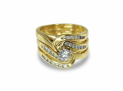 9k Yellow Gold 0.50ct Diamond Engagement/Wedding/Eternity 3 Ring Bridal Set #233